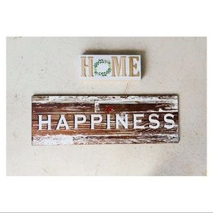 Happiness & Home Wood Sign